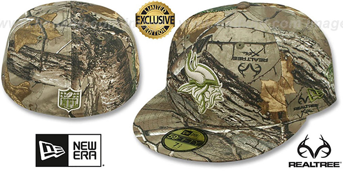 Vikings 'NFL TEAM-BASIC' Realtree Camo Fitted Hat by New Era : pictured without stickers that these products are shipped with