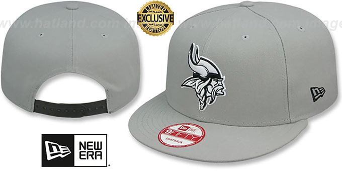 Vikings 'NFL TEAM-BASIC SNAPBACK' Grey-Black Hat by New Era : pictured without stickers that these products are shipped with