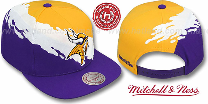 Vikings 'PAINTBRUSH SNAPBACK' Gold-White-Purple Hat by Mitchell & Ness : pictured without stickers that these products are shipped with
