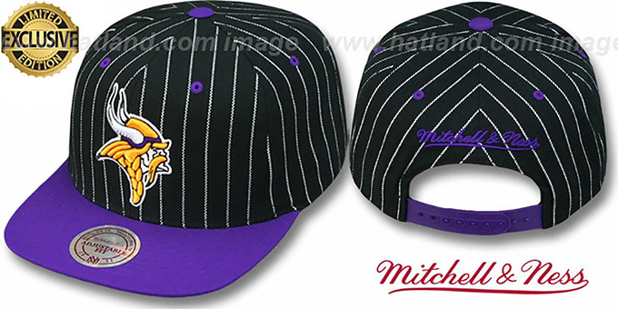 Vikings 'PINSTRIPE 2T TEAM-BASIC SNAPBACK' Black-Purple Adjustable Hat by Mitchell & Ness : pictured without stickers that these products are shipped with