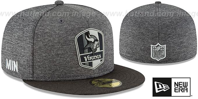 Minnesota Vikings ROAD ONFIELD STADIUM Charcoal-Black Fitted Hat 2f6ed906268