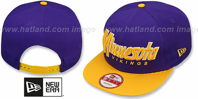 Vikings 'SNAP-IT-BACK SNAPBACK' Purple-Gold Hat by New Era : pictured without stickers that these products are shipped with