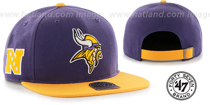 Vikings 'SUPER-SHOT STRAPBACK' Purple-Gold Hat by Twins 47 Brand : pictured without stickers that these products are shipped with