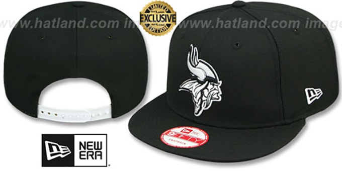 Vikings 'TEAM-BASIC SNAPBACK' Black-White Hat by New Era : pictured without stickers that these products are shipped with