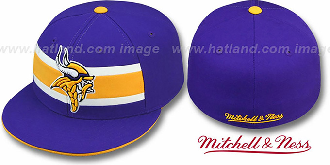 Vikings 'THROWBACK TIMEOUT' Purple Fitted Hat by Mitchell & Ness : pictured without stickers that these products are shipped with
