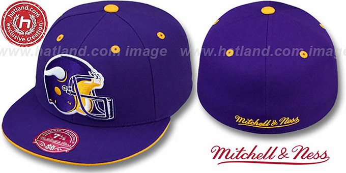 Vikings 'XL-HELMET' Purple Fitted Hat by Mitchell & Ness : pictured without stickers that these products are shipped with