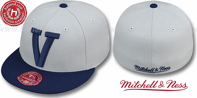 Villanova '2T XL-LOGO' Grey-Navy Fitted Hat by Mitchell & Ness : pictured without stickers that these products are shipped with