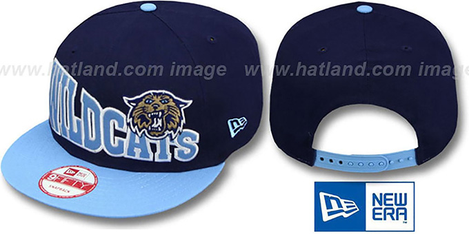 Villanova 'STOKED SNAPBACK' Navy-Sky Hat by New Era : pictured without stickers that these products are shipped with