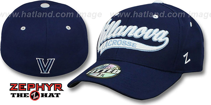 Villanova 'SWOOP LACROSSE' Navy Fitted Hat by Zephyr : pictured without stickers that these products are shipped with