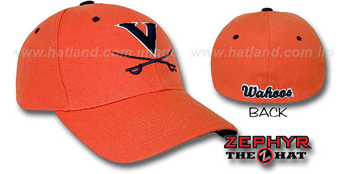 Virginia 'DH' Orange Fitted Hat by Zephyr : pictured without stickers that these products are shipped with