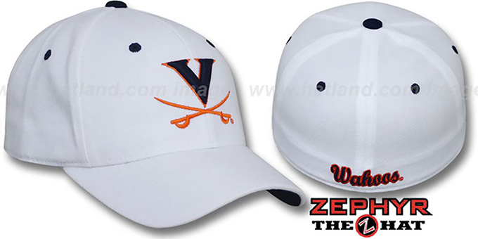 Virginia 'DH' White Fitted Hat by Zephyr : pictured without stickers that these products are shipped with