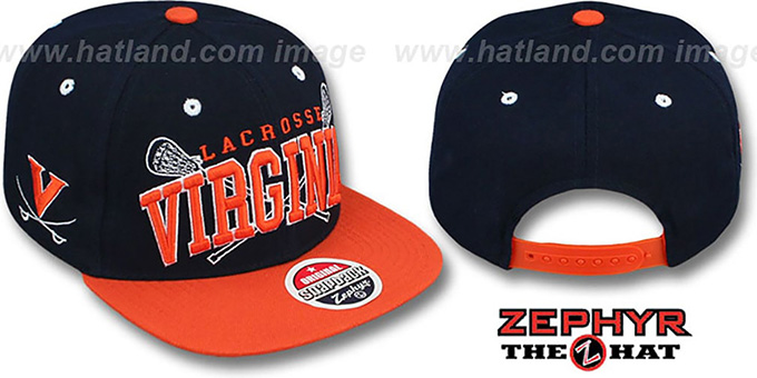 Virginia 'LACROSSE SUPER-ARCH SNAPBACK' Navy-Orange Hat by Zephyr : pictured without stickers that these products are shipped with