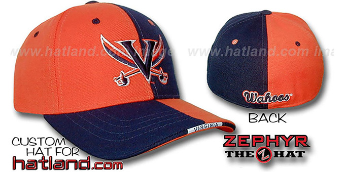 Virginia 'SPLITTER' Orange-Navy Fitted Hat by Zephyr : pictured without stickers that these products are shipped with