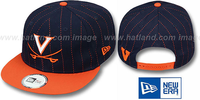 Virginia 'TEAM-BASIC PINSTRIPE SNAPBACK' Navy-Orange Hat by New Era : pictured without stickers that these products are shipped with