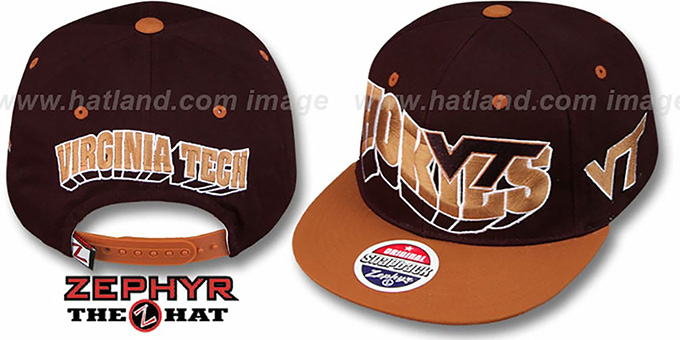 Virginia Tech '2T FLASHBACK SNAPBACK' Burgundy-Burnt Orange Hat by Zephyr : pictured without stickers that these products are shipped with