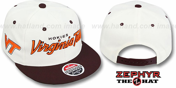 Virginia Tech '2T HEADLINER SNAPBACK' White-Maroon Hat by Zephyr : pictured without stickers that these products are shipped with