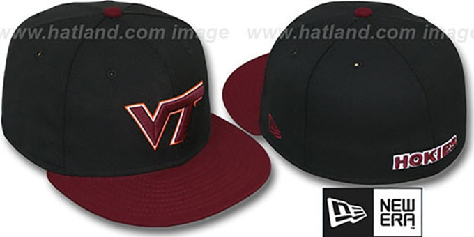 Virginia Tech '2T NCAA-BASIC' Black-Maroon Fitted Hat by New Era : pictured without stickers that these products are shipped with