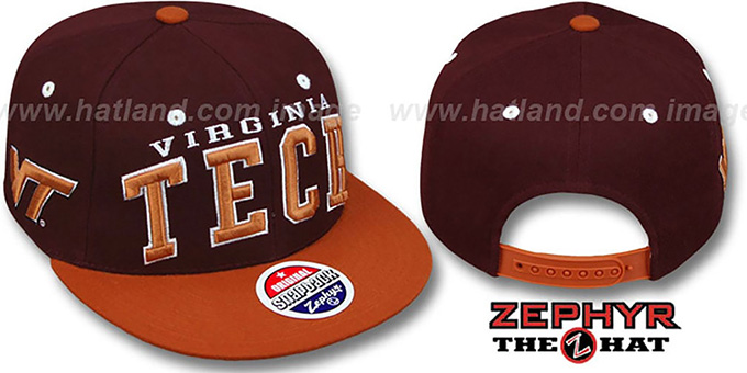 Virginia Tech '2T SUPER-ARCH SNAPBACK' Burgundy-Orange Hat by Zephyr : pictured without stickers that these products are shipped with