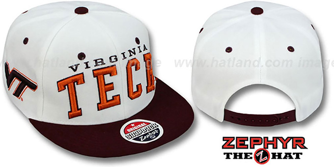 Virginia Tech '2T SUPER-ARCH SNAPBACK' White-Burgundy Hat by Zephyr : pictured without stickers that these products are shipped with