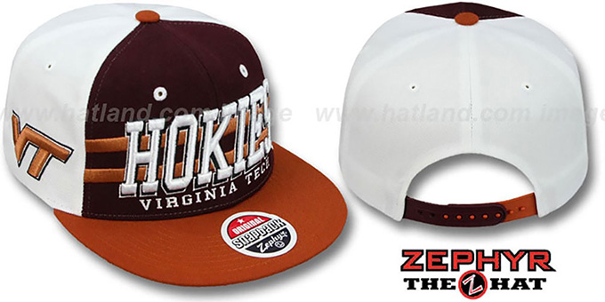 Virginia Tech '2T SUPERSONIC SNAPBACK' Burgundy-Orange Hat by Zephyr : pictured without stickers that these products are shipped with