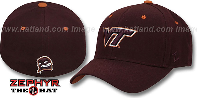 Virginia Tech 'DH' 2 Burgundy Fitted Hat by Zepyr : pictured without stickers that these products are shipped with