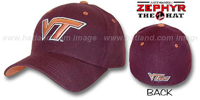 Virginia Tech 'DH' Fitted Hat by Zepyr - burgundy : pictured without stickers that these products are shipped with