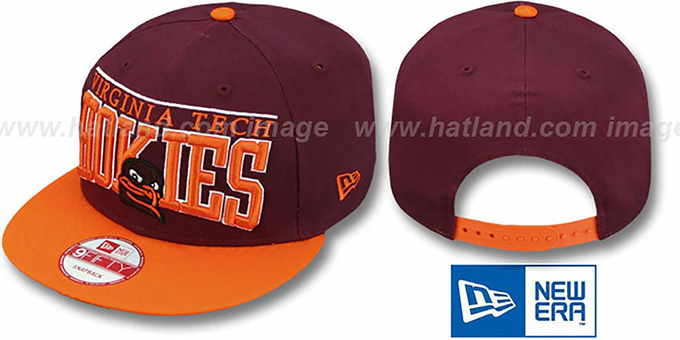 Virginia Tech 'LE-ARCH SNAPBACK' Burgundy-Orange Hat by New Era : pictured without stickers that these products are shipped with