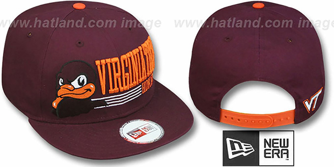 Virginia Tech 'RETRO-SNAPBACK' Burgundy Hat by New Era : pictured without stickers that these products are shipped with