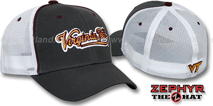 Virginia Tech 'SCRIPT-MESH' Fitted Hat by Zephyr - grey-white : pictured without stickers that these products are shipped with