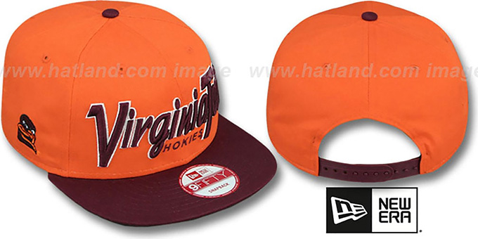 Virginia Tech 'SNAP-IT-BACK SNAPBACK' Orange-Burgundy Hat by New Era : pictured without stickers that these products are shipped with