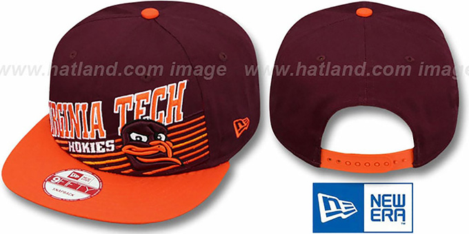 Virginia Tech 'STILL ANGLIN SNAPBACK' Burgundy-Orange Hat by New Era : pictured without stickers that these products are shipped with