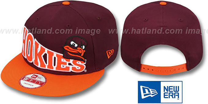 Virginia Tech 'STOKED SNAPBACK' Burgundy-Orange Hat by New Era : pictured without stickers that these products are shipped with