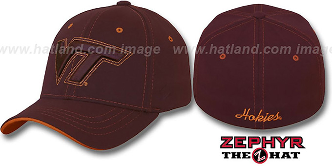 Virginia Tech 'SUTURE' Stretch-Fit Hat by Zephyr - burgundy : pictured without stickers that these products are shipped with