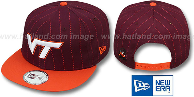 Virginia Tech 'TEAM-BASIC PINSTRIPE SNAPBACK' Burgundy-Orange Hat by New Era : pictured without stickers that these products are shipped with