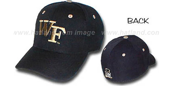 Wake Forest 'DH' Fitted Hat by ZEPHYR - black : pictured without stickers that these products are shipped with