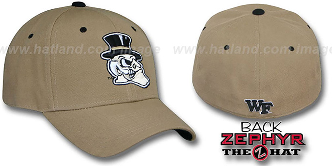 Wake Forest 'DHS' Fitted Hat by Zephyr - khaki : pictured without stickers that these products are shipped with