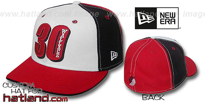 Wallace 'PINWHEEL' White-Black-Red Fitted Hat by New Era : pictured without stickers that these products are shipped with