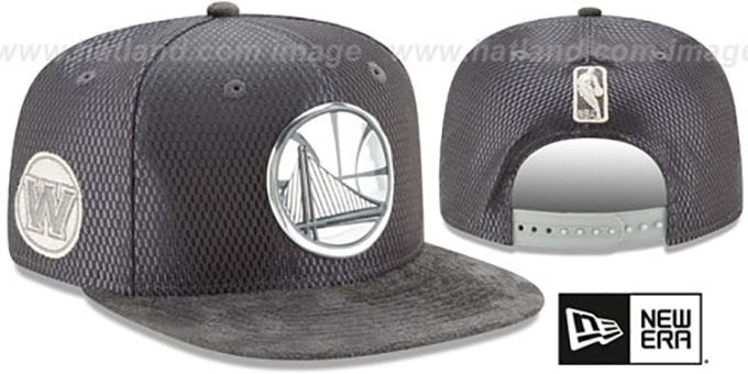 Warriors '2017 NBA ONCOURT SNAPBACK' Charcoal Hat by New Era : pictured without stickers that these products are shipped with