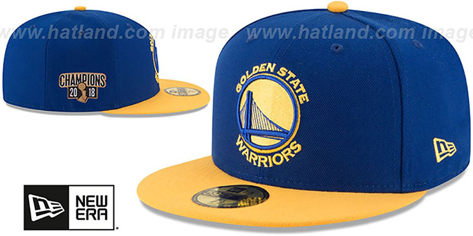 c5b2510d89f21 Golden State Warriors 2018 FINALS CHAMPIONS Royal-Gold Fitted Hat