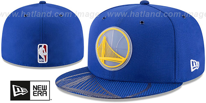 Warriors '2018 NBA ONCOURT ALL-STAR' Royal Fitted Hat by New Era : pictured without stickers that these products are shipped with