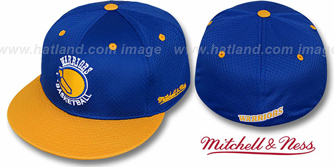 Warriors '2T BP-MESH' Royal-Gold Fitted Hat by Mitchell & Ness : pictured without stickers that these products are shipped with