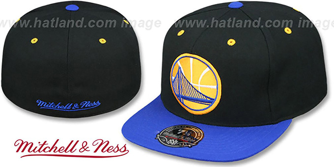 Warriors '2T XL-LOGO - 2' Black-Royal Fitted Hat by Mitchell and Ness : pictured without stickers that these products are shipped with