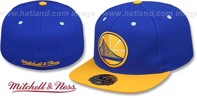 Warriors '2T XL-LOGO - 2' Royal-Gold Fitted Hat by Mitchell and Ness : pictured without stickers that these products are shipped with