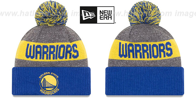 Warriors 'ARENA SPORT' Royal-Gold Knit Beanie Hat by New Era : pictured without stickers that these products are shipped with