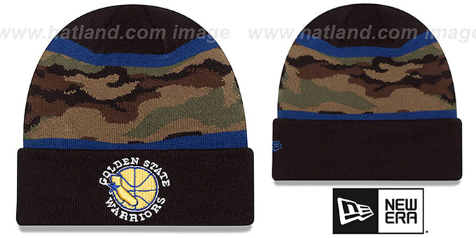 Warriors 'ARMY CAMO FILLZ' Knit Beanie Hat by New Era : pictured without stickers that these products are shipped with