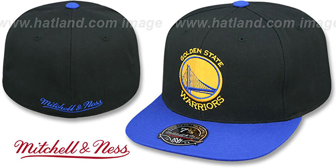 Warriors 'BASIC-LOGO' Black-Royal Fitted Hat by Mitchell and Ness : pictured without stickers that these products are shipped with