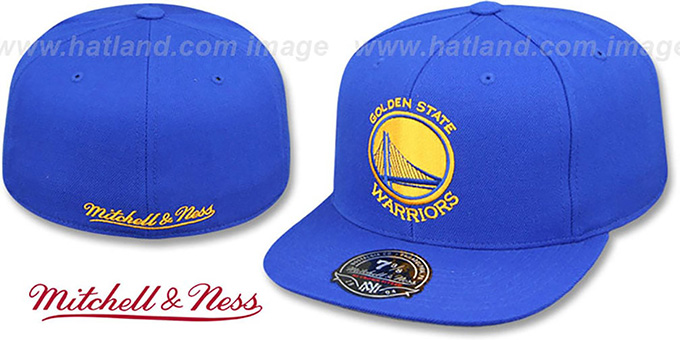 Warriors 'BASIC-LOGO' Royal Fitted Hat by Mitchell and Ness : pictured without stickers that these products are shipped with