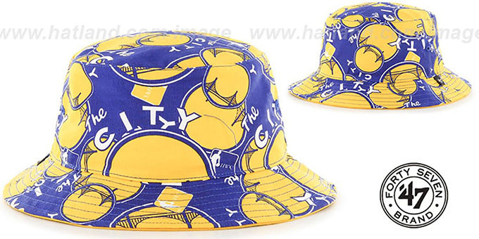Warriors 'BRAVADO BUCKET' Hat by Twins 47 Brand : pictured without stickers that these products are shipped with