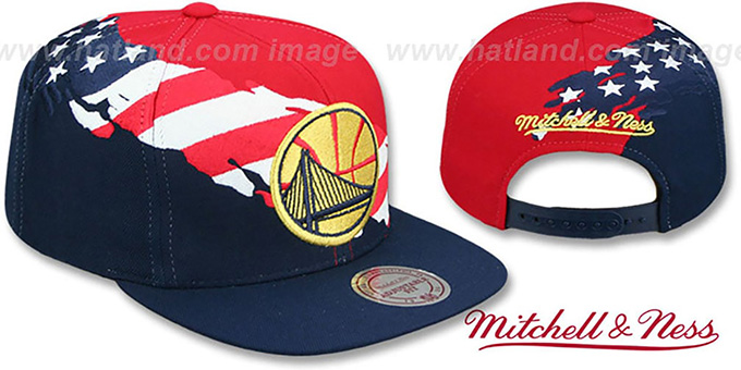 d961dc2400c Warriors  BRUSHED FLAG SNAPBACK  Red-Navy Hat by Mitchell and Ness