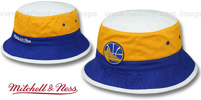 Warriors 'COLOR-BLOCK BUCKET' White-Gold-Royal Hat by Mitchell and Ness : pictured without stickers that these products are shipped with